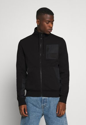 MIXED MEDIA FASHION ZIP UP - Zip-up hoodie - black