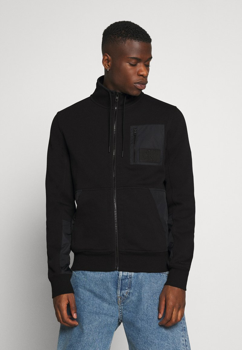 Calvin Klein Jeans - MIXED MEDIA FASHION ZIP UP - Zip-up hoodie - black