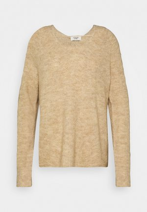 JDYANNE WIDE V NECK - Jumper - oatmeal/melange