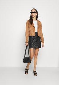 Miss Selfridge - BIKER - Faux leather jacket - tan - 1