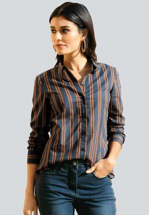 Button-down blouse - marineblau cognac