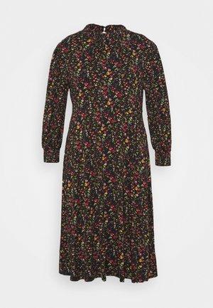SHIRRED NECK MIDI FLORAL - Day dress - black