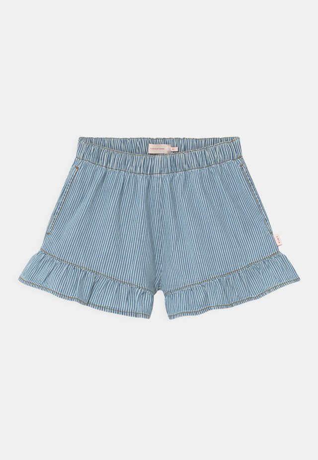STRIPED  - Denim shorts - blue