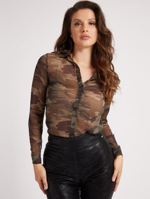 CRINKLE PRINT - Button-down blouse - camouflage