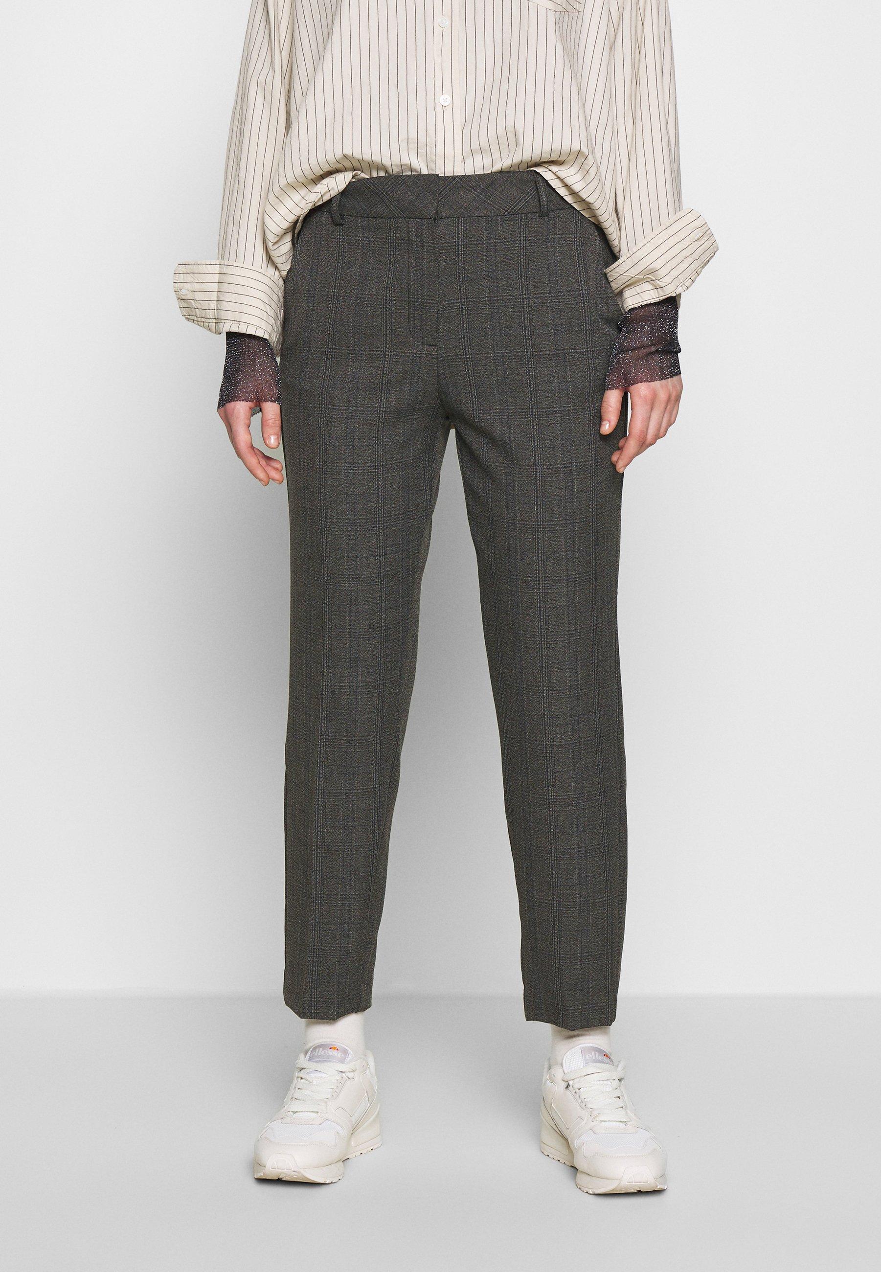 Femme SLFRIA CROPPED PANT CHECK - Pantalon classique