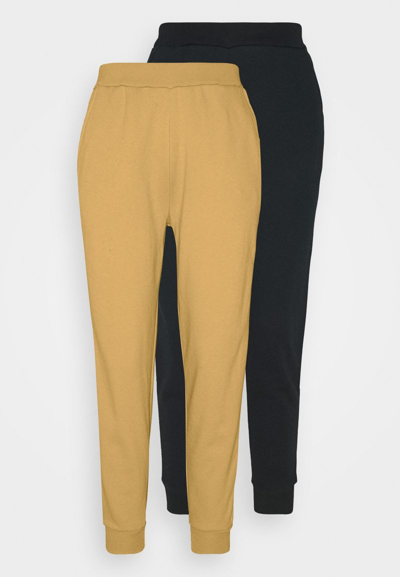 Even&Odd - 2er PACK - Basic regular fit joggers - Tracksuit bottoms - black/yellow