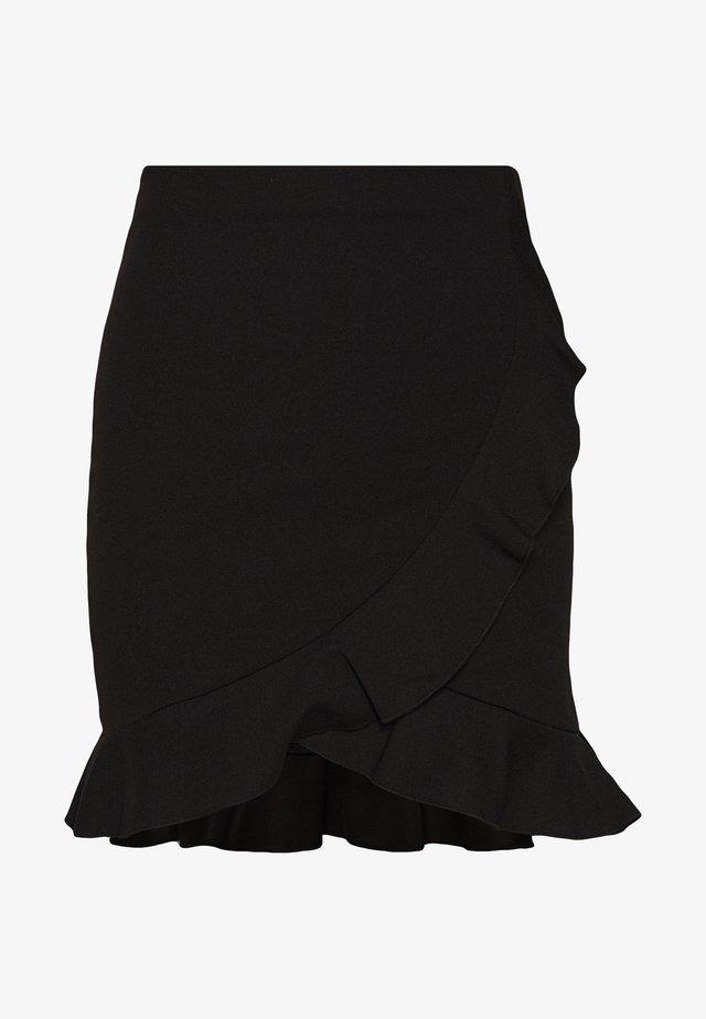 FRILL MINI SKIRT - Omslagsskjørt - black