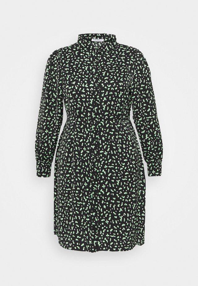 MINI DRESS - Abito a camicia - black/green