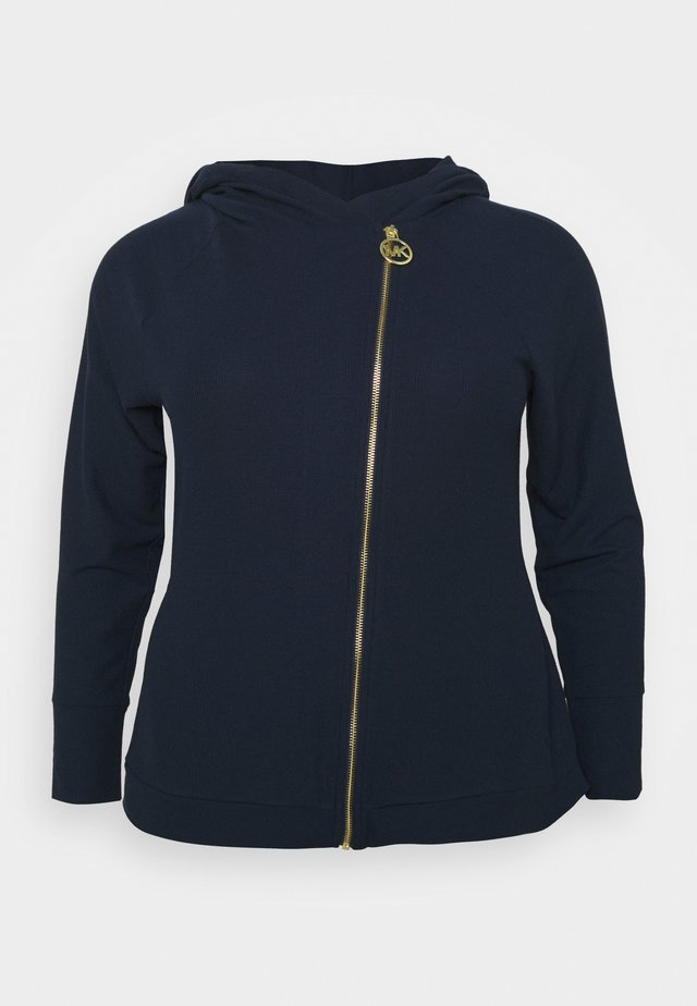 ASYMTRICAL ZIP HOODIE - Collegetakki - midnight blue
