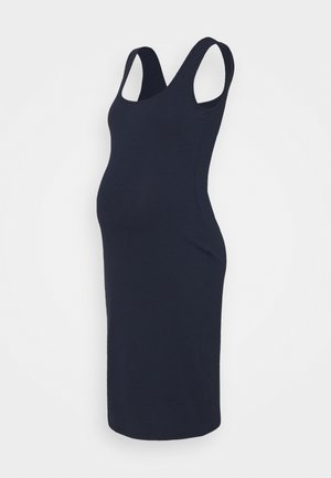BODYCON MIDI DRESS WITH WIDE STRAPS AND LOW SQUARE NECKL - Jersey dress - navy