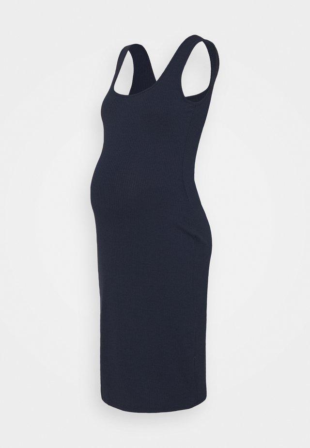 BODYCON MIDI DRESS WITH WIDE STRAPS AND LOW SQUARE NECKL - Sukienka z dżerseju - navy