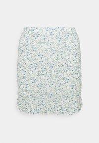 COORD SHIRRED SKIRT FLORAL - Mini skirt - blue