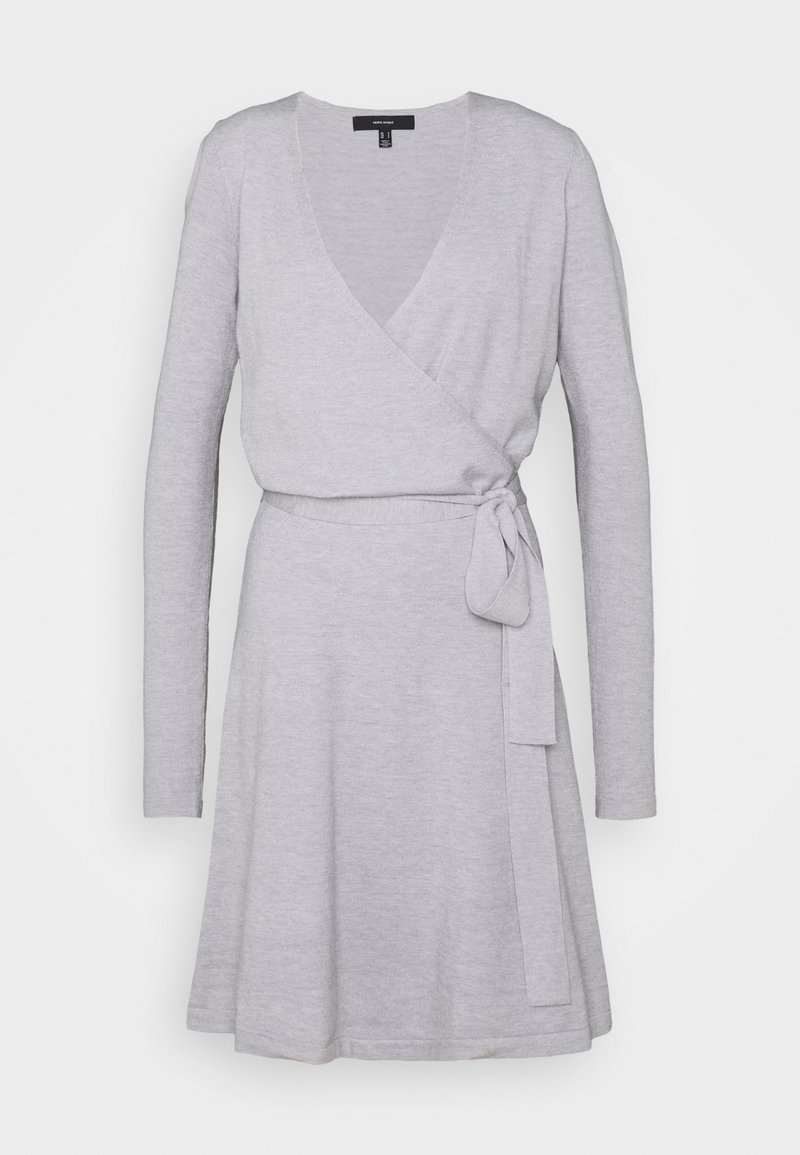 Vero Moda Tall - VMKARISARA WRAP DRESS  - Pletené šaty - light grey melange