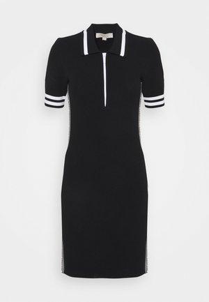 LOGO TAPE HALF ZIP DRESS - Pouzdrové šaty - black