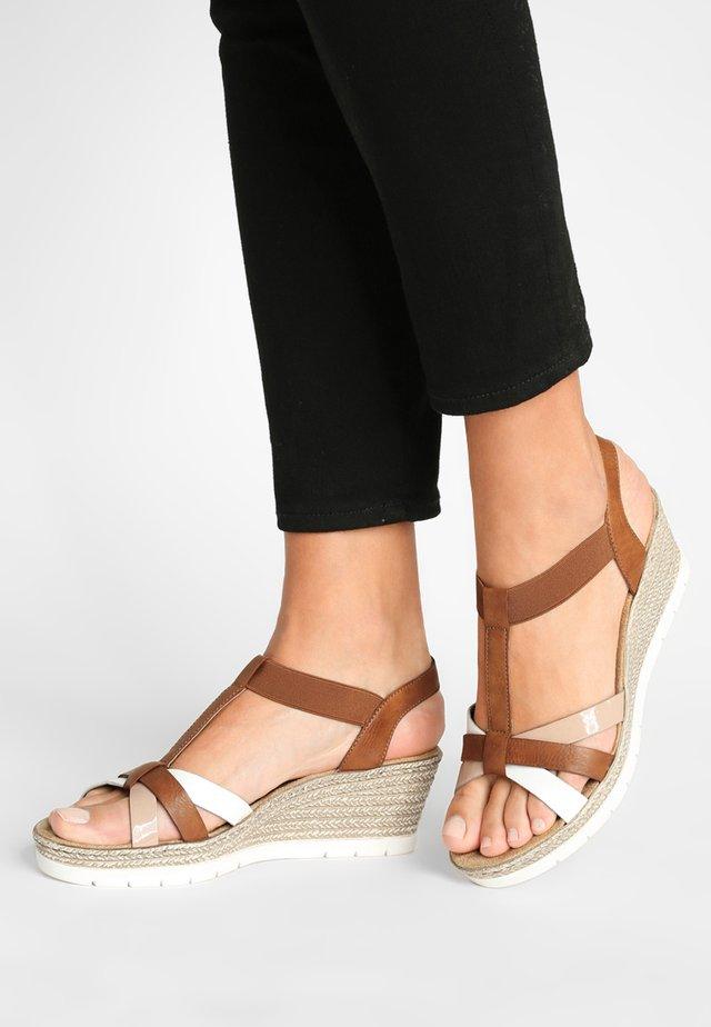 Sandales à plateforme - bianco/cognac