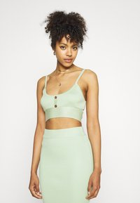 Missguided - BUTTON TIE BACK CAMI SKIRT SET - Top - green - 3