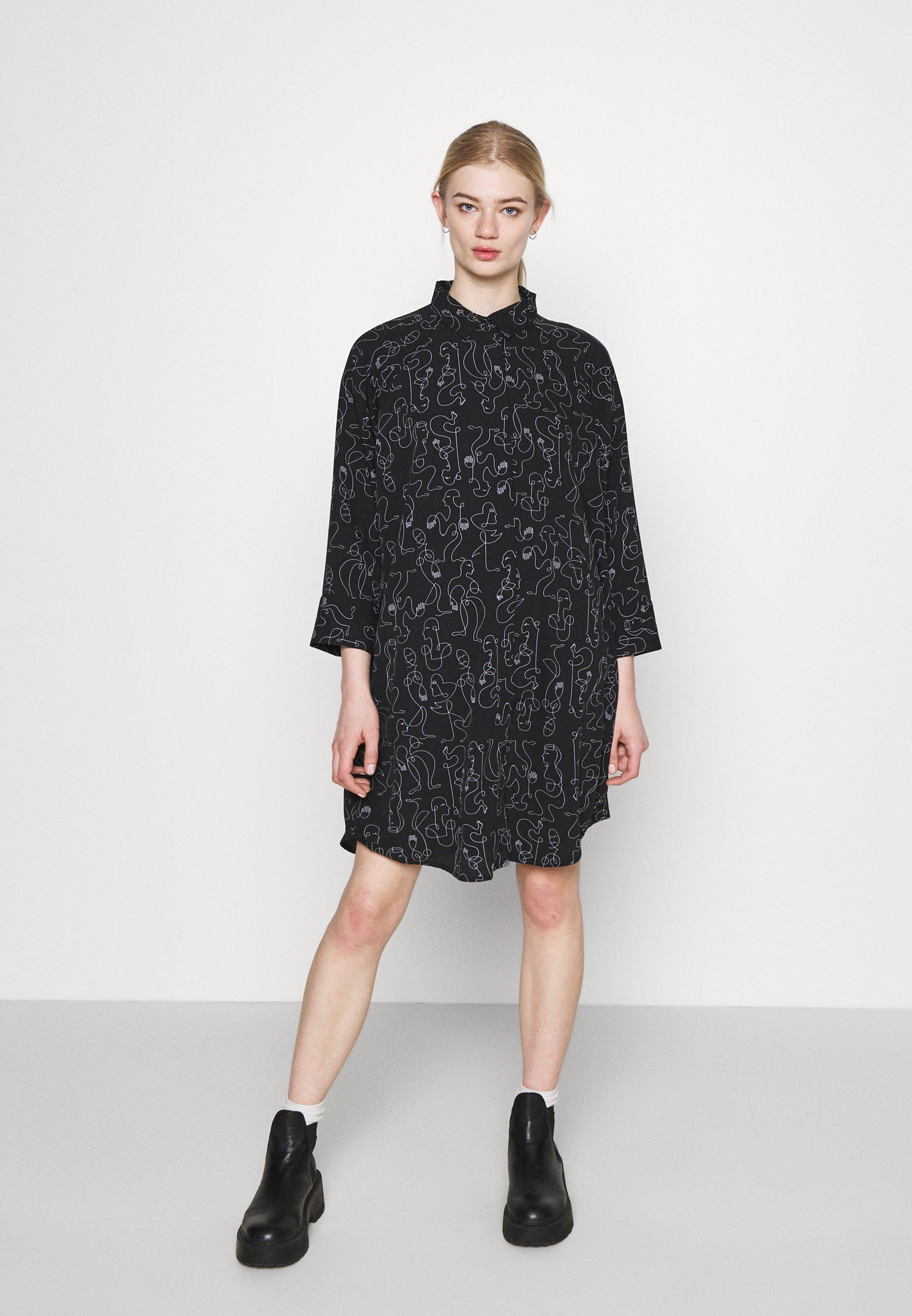 Donna MOA RAGLAN SHIRTDRESS - Abito a camicia - black