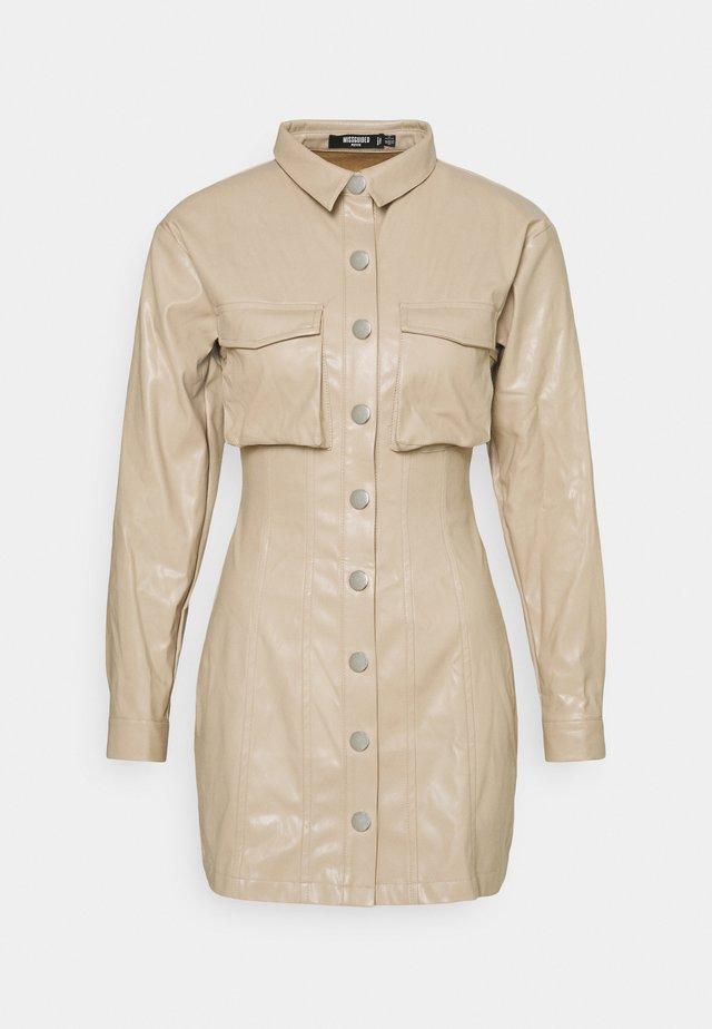 BUTTON FRONT UTILITY DRESS - Korte jurk - stone