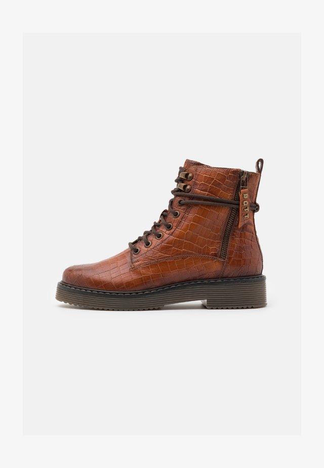 NERIA - Platform ankle boots - cognac