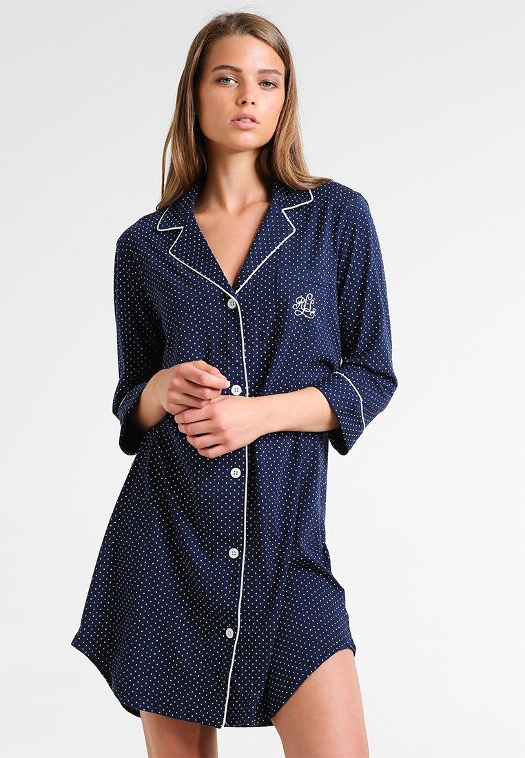 Lauren Ralph Lauren - HERITAGE 3/4 SLEEVE CLASSIC NOTCH COLLAR SLEEPSHIRT - Nightie - dot navy/white