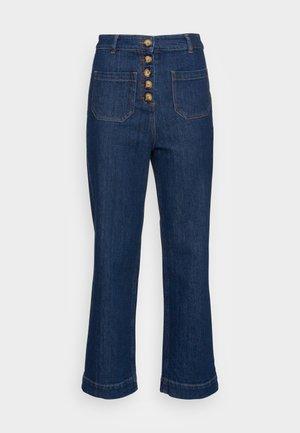 HIGH WAIST POCKET PANTS - Bootcut jeans - blue