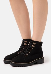 New Look Wide Fit - WIDE FIT PIPED LACE UP - Lace-up ankle boots - black - 0