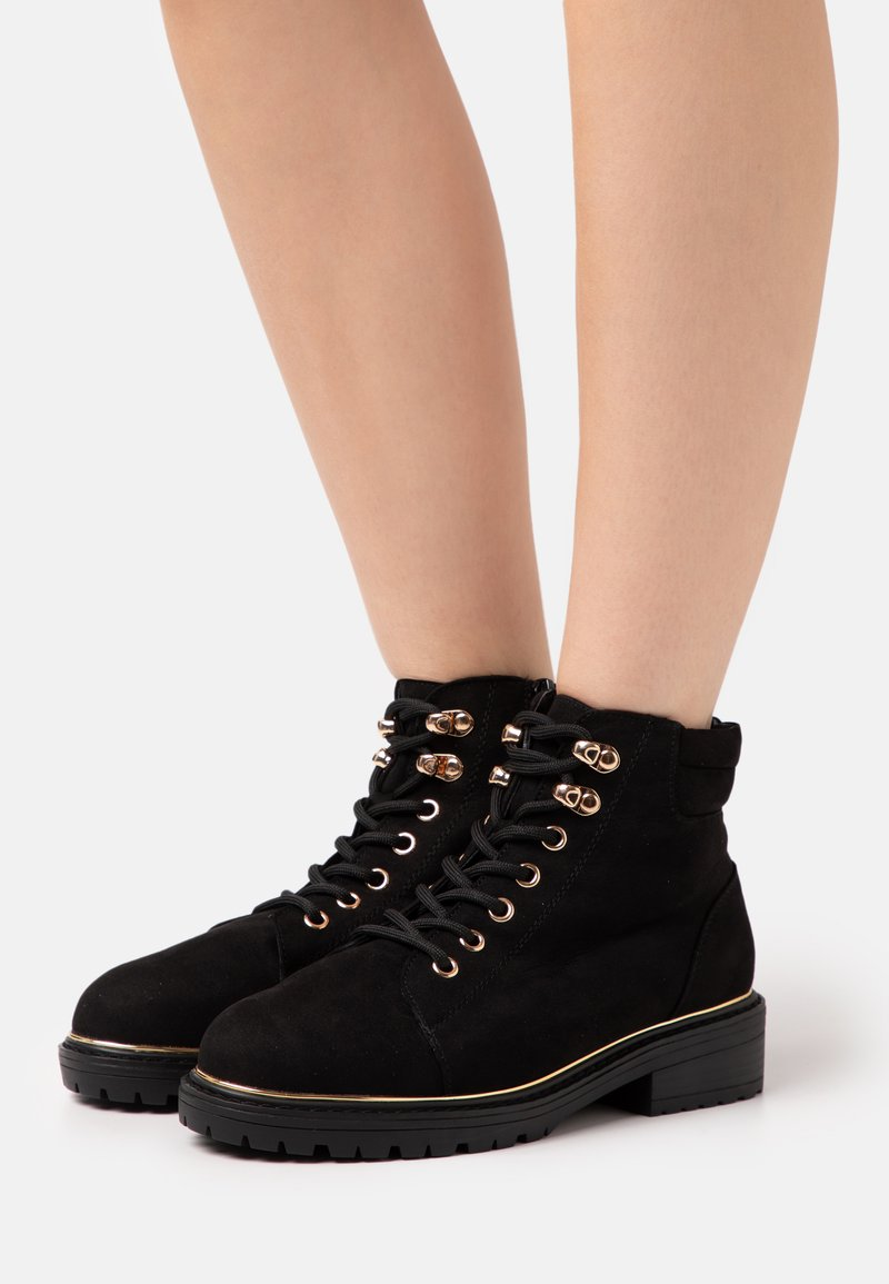 New Look Wide Fit - WIDE FIT PIPED LACE UP - Lace-up ankle boots - black