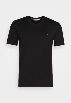 V-NECK CHEST LOGO - T-shirt basic - black