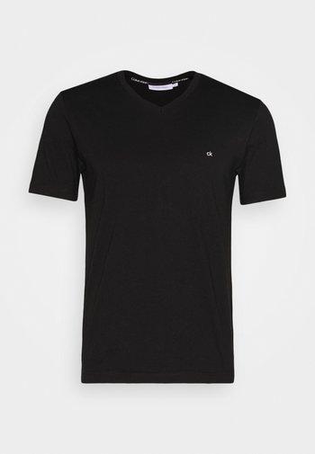 V-NECK CHEST LOGO - T-shirt basic - black