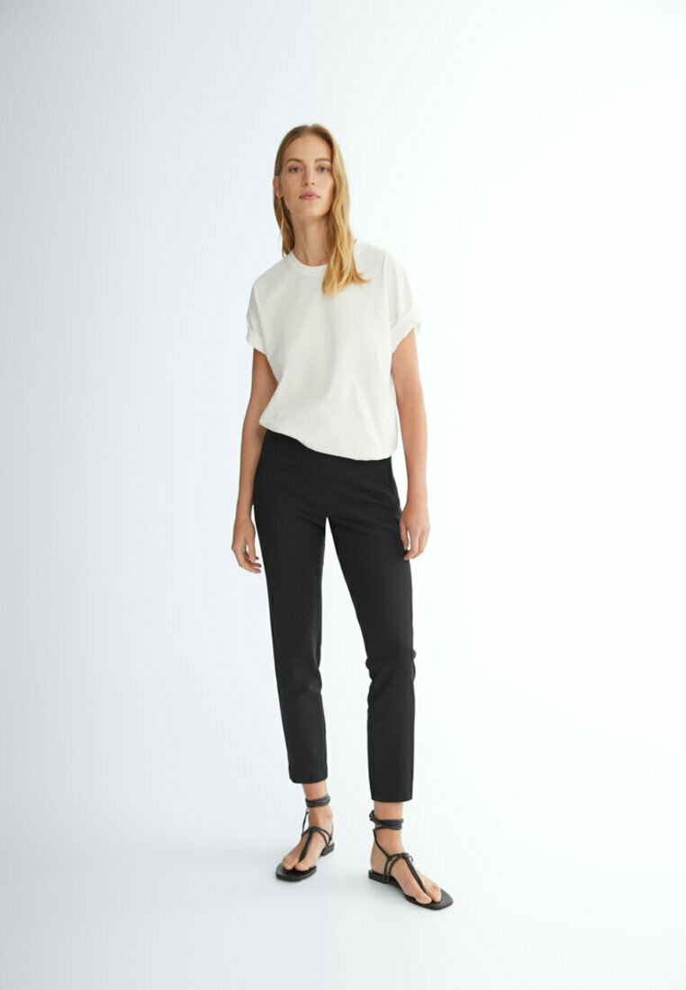 Massimo Dutti - FLANELL  - Trousers - black