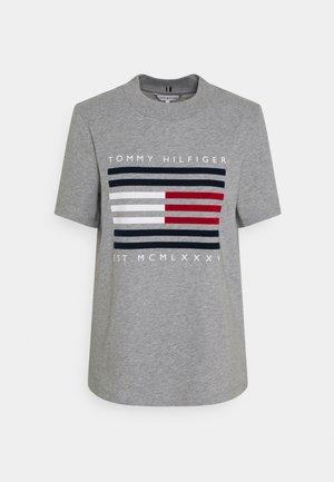 REGULAR FLOCK TEE - Print T-shirt - light grey heather