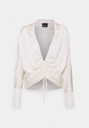 DRAWSTRING SHIRT - Long sleeved top - egret