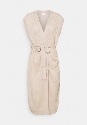 VILESLY LONG KNIT VEST - Neuletakki - natural melange