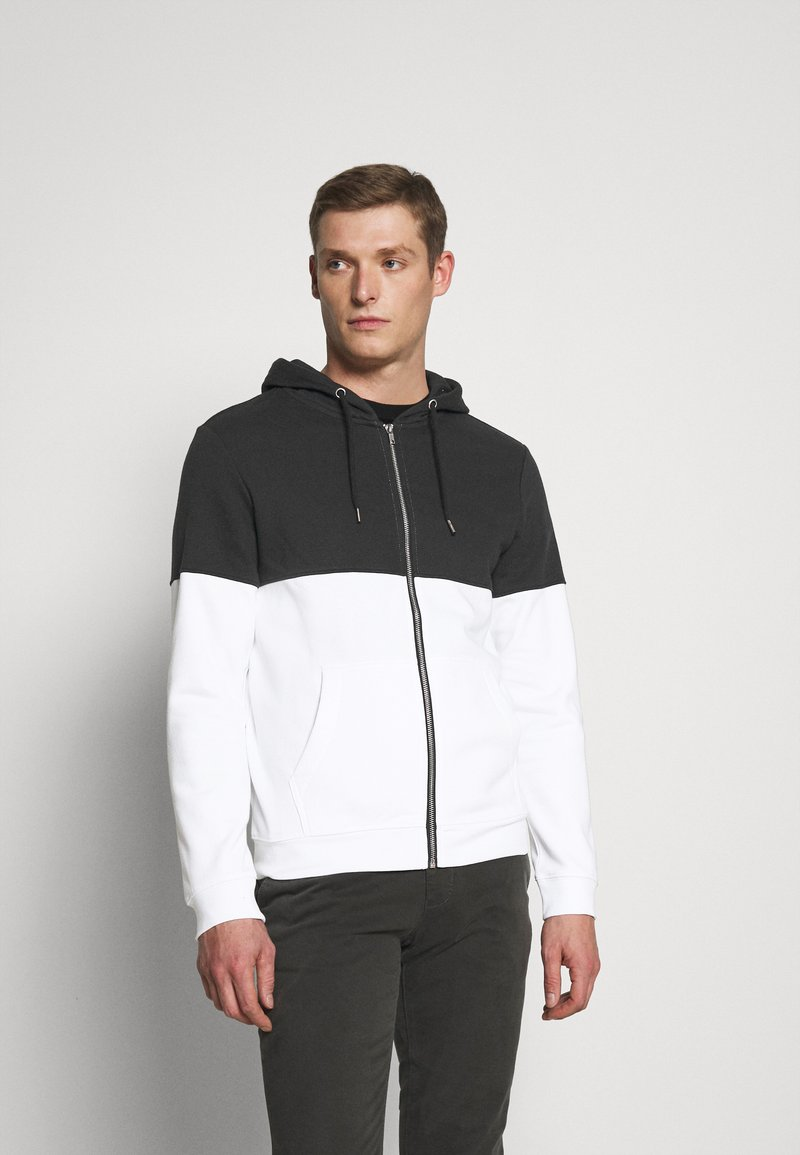 Pier One - Zip-up hoodie - black/white