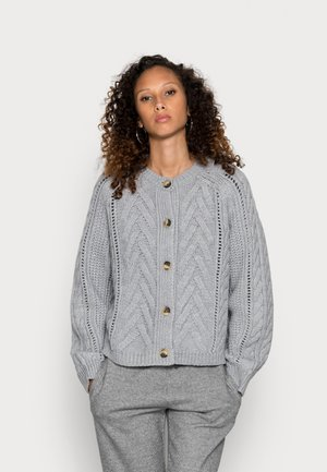 CARDIGAN WITH BUTTONS AND CABLE STRUCTURE - Kardigan - stone melange