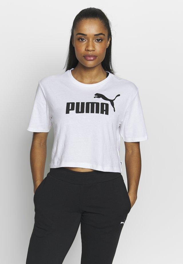CROPPED LOGO TEE - T-shirt imprimé - white