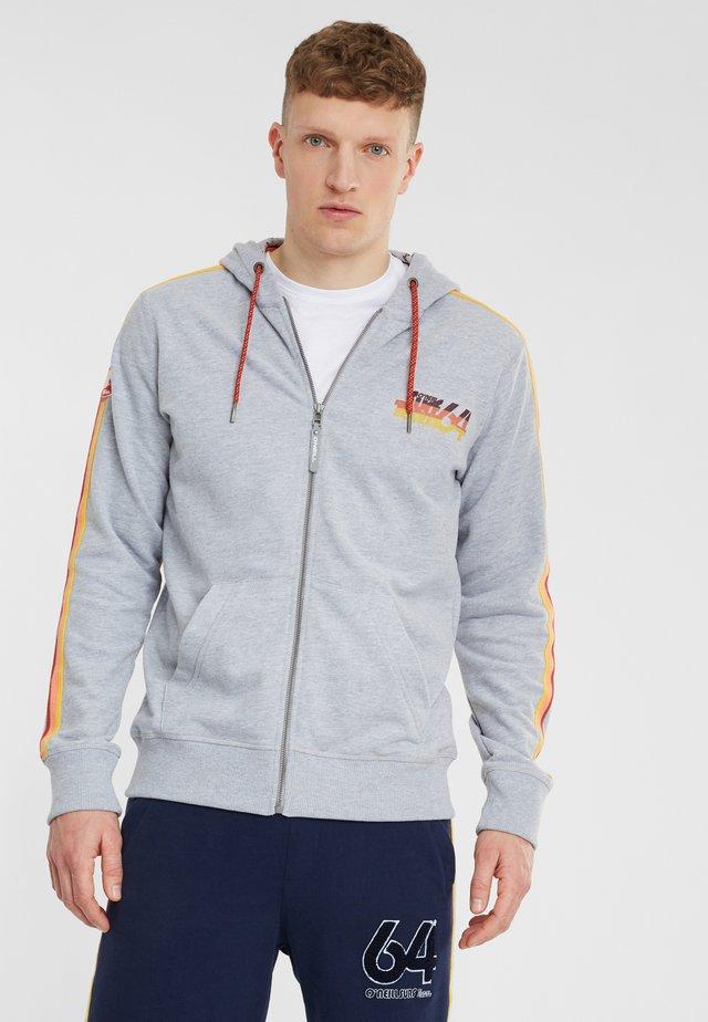 Zip-up hoodie - silver melee