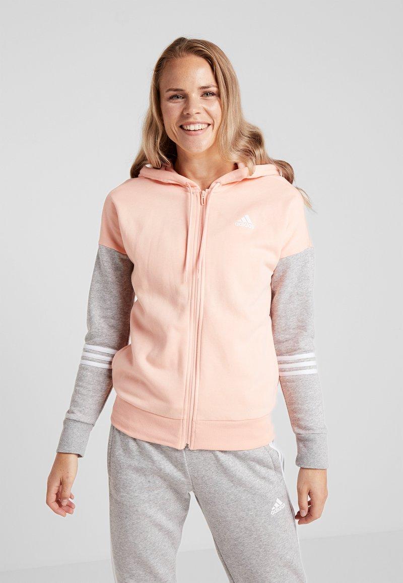 adidas Performance - ENERGIZE SPORTS SLIM TRACKSUIT - Tracksuit - glow pink/medium grey heather/white