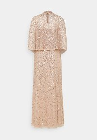 Maya Deluxe - DELICATE SEQUIN DRESS WITH DETACHABLE CAPE - Iltapuku - taupe blush - 8