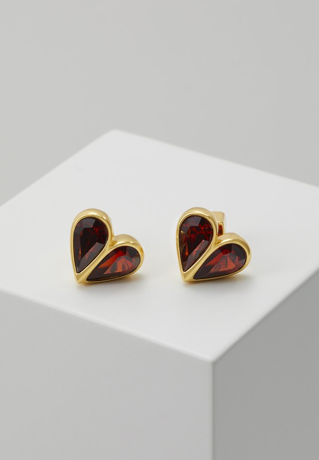 SMALL HEART STUDS - Earrings - ruby/gold-coloured