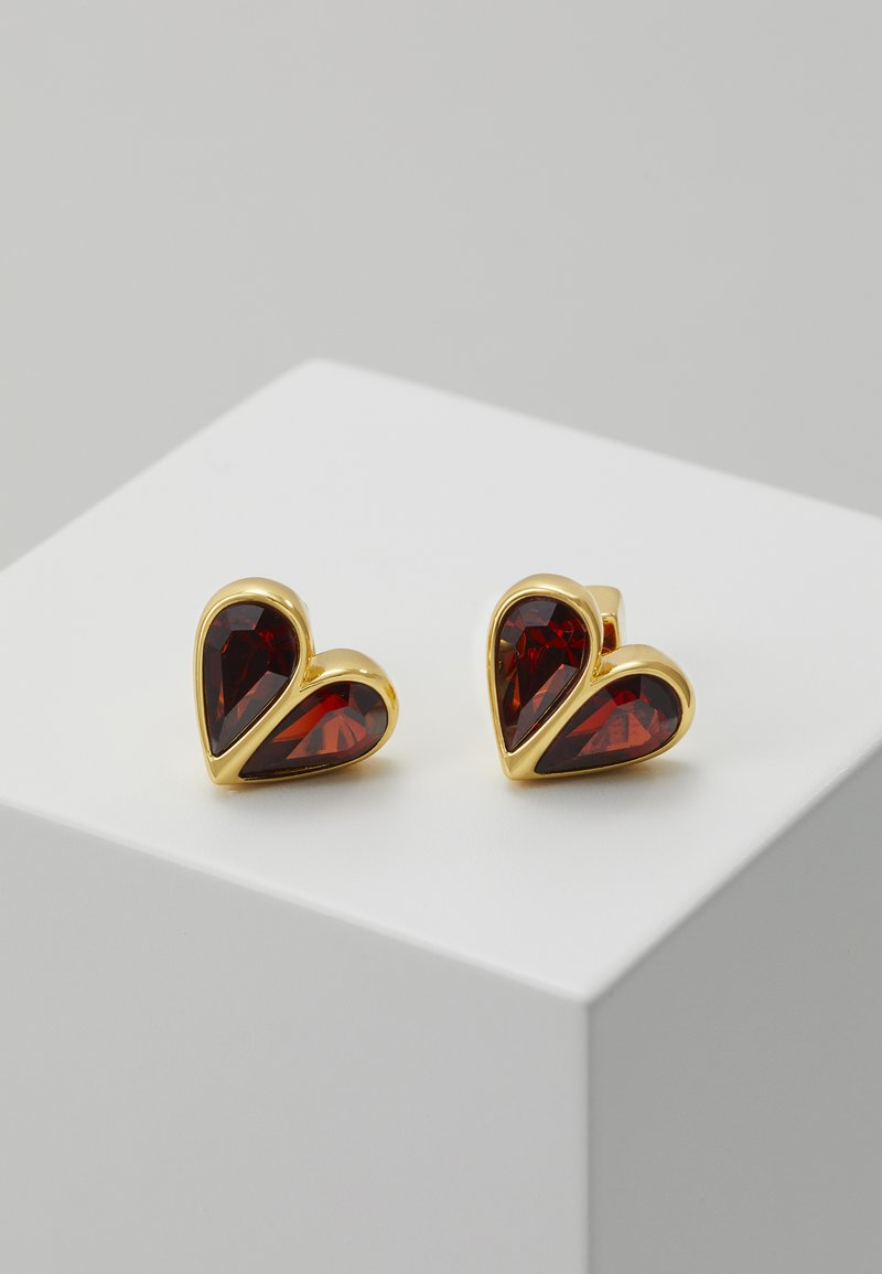 kate spade new york - SMALL HEART STUDS - Náušnice - ruby/gold-coloured