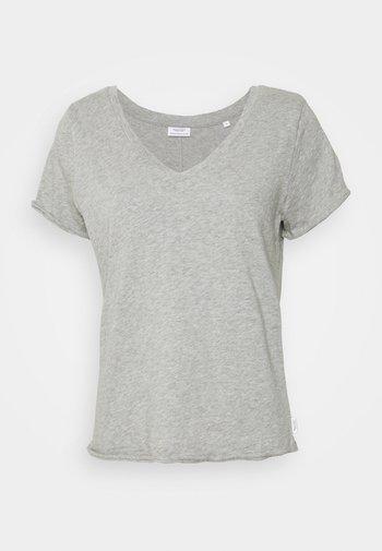 SHORT SLEEVE V NECK - Basic T-shirt - grey melange