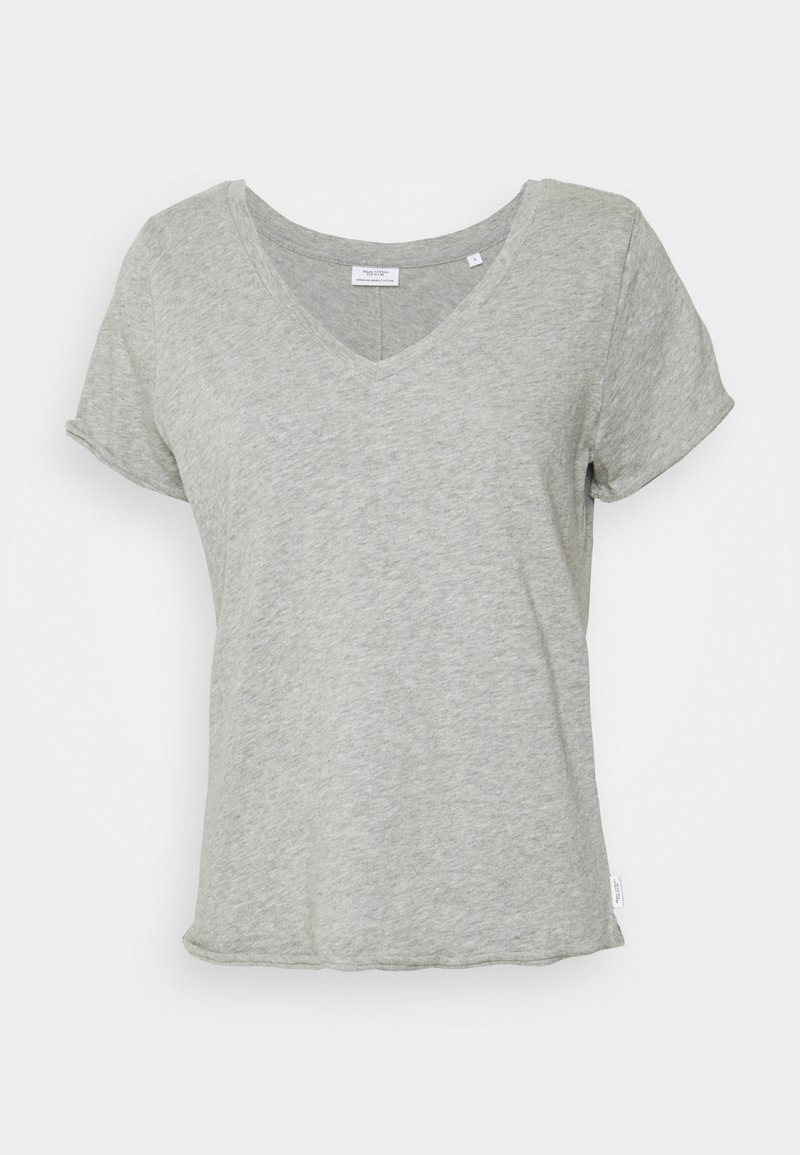 Marc O'Polo DENIM - SHORT SLEEVE V NECK - Basic T-shirt - grey melange