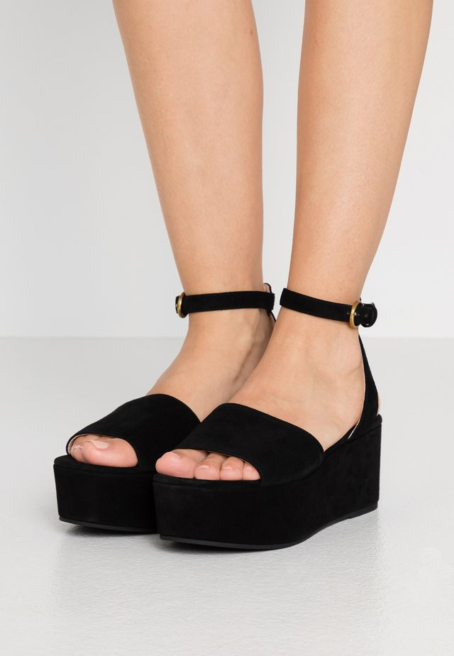 WIDE STRAP GINGER PLATFORM - Platform sandals - black