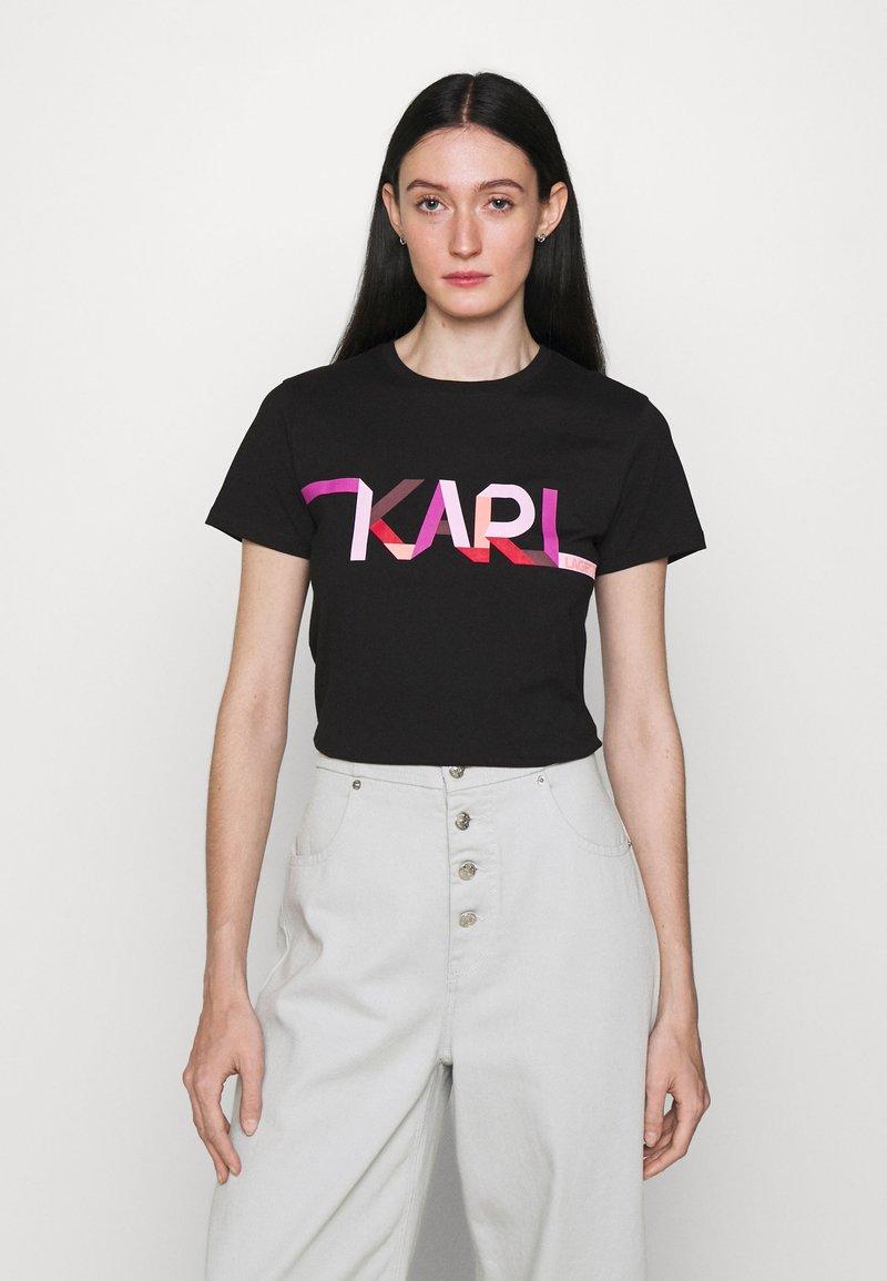KARL LAGERFELD - STRIPE LOGO - T-Shirt print - black