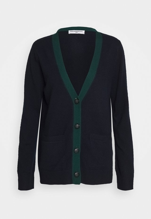 CLASSIC CARDIGAN - Cardigan - dark navy/deep green