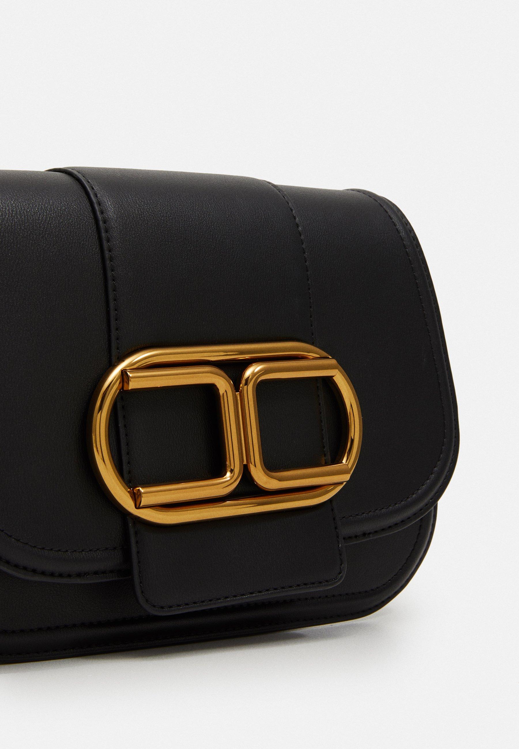 Shopping Accessories Elisabetta Franchi MED SADDLE LOGO CROSSBODY WITH CHAIN Across body bag nero Y7SQX36gk