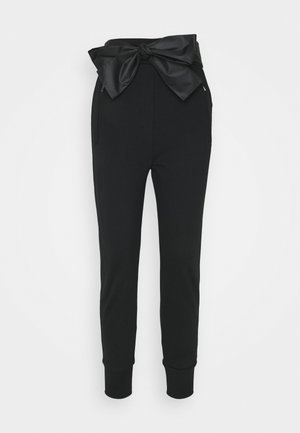FRENCH TERRY JOGGER TIE - Tracksuit bottoms - black