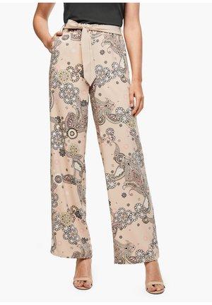 Trousers - beige ornamental print