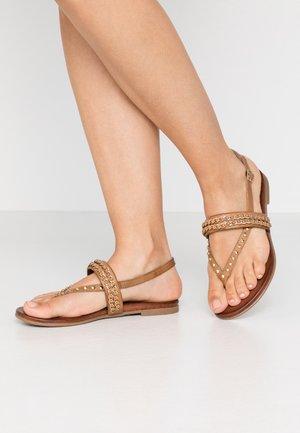 LEATHER - T-bar sandals - cognac